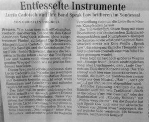 Weser Kurier Konzert Review 12.11.2016