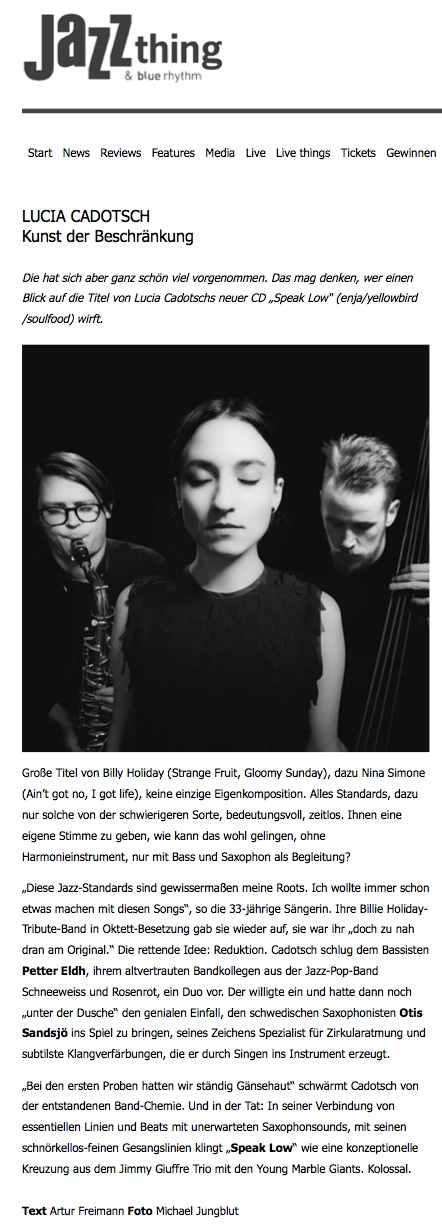 Lucia Cadotsch - speak low reviews